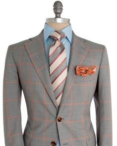 Andrea Campagna | Houndstooth with Orange Windowpane Sportcoat | Apparel | Men's
