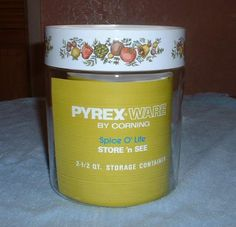 Pyrex Store 'n See Clear Glass Canister Jar with Spice Of Life Lid #Pyrex