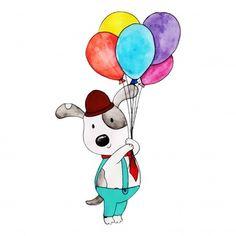 Aquarelle joyeux anniversaire Panda mignon dessin animé