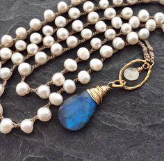 Labradorite necklace - Crochet necklace, Pearl long necklace, Labradorite jewellery, June birthstone gift, Crochet jewellery by Mollymoojewels on Etsy https://www.etsy.com/listing/564570104/labradorite-necklace-crochet-necklace