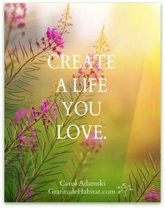 create a life you love. (don't just settle for one you don't like)!!!  gratitudehabitat.com
