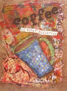 coffee sweet addiction fine art print by mixed media artist julie king