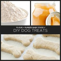 ingredients: 2 cups 100% organic whole wheat flour (or wheat germ, or spelt, or rolled oats, or a mixture of these, etc.) 2 (4oz) jars of pureed baby food – beef, blueberry, sweet potato, chicken – whatever. directions: 1. Preheat oven to 350°. 2. Mix together to form a stiff dough. If necessary, add extra flour or water as needed. 3. On a lightly floured surface, roll out dough to about a 1/4 inch thick. Cut 4. Bake for 20 – 25 minutes. Allow to cool completely before storing in a paper bag