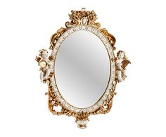 Espejo de pared en resina, dorado envejecido - 34,5x43 cm
