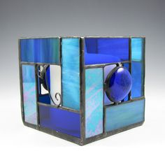 Blue Stained Glass Candle Holder  Geometric by AngelasGlassStudio, $22.50