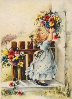 Vintage Pictures, Vintage Images, Art Pictures, Picture Postcards, Vintage Postcards, Victorian Paintings, Photo Souvenir, Decoupage Vintage, Country Art