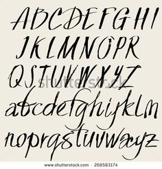 Vector set of hand drawn font. Alphabet of the calligraphy upper and lower case letters
