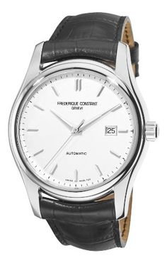Men's Wrist Watches - Frederique Constant Mens FC303S6B6 Clear Vision Silver Dial Black Strap Watch * Click image to review more details. (This is an Amazon affiliate link)