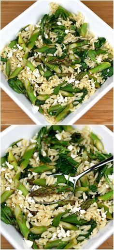 Lemon Orzo Salad with Asparagus, Spinach, and Feta on http://twopeasandtheirpod.com Love this fresh and healthy salad!