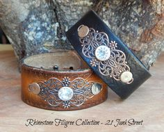 Rhinestone Filigree Leather Cuff Bracelet, Become a Retailer! 21 Junk Street See related items on Fanatic Leather Store. Diy Bracelets How To Make, Homemade Bracelets, Leather Gifts, Leather Jewelry, Leather Cuff Bracelets, Handmade Leather, Jewelry Crafts, Handmade Jewelry, Jewellery Diy