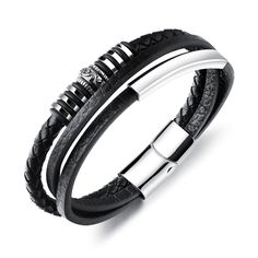 OPK Multilayer PU Leather Bracelets For Men Magnet Buckle Long Cool Man Male Hamdmade Braided Rope Bracelet Bracelets For Men, Silver Bracelets, Bangle Bracelets, Silver Ring, Strand Bracelet, Unique Bracelets, Black Leather Bracelet, Leather Bracelets, Bracelet Cuir