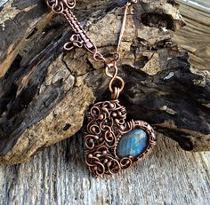 Key to My Heart Labradorite and Copper Necklace by OliveEweDesigns