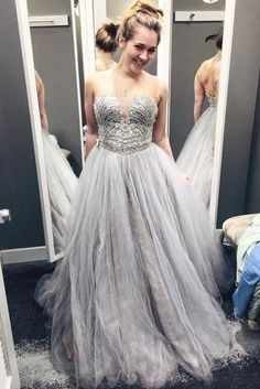Strapless A-line Tulle Prom Dresses With Crystals Floor Length Party Dresses  Pleat Custom Made 2016 295ba41b3b49