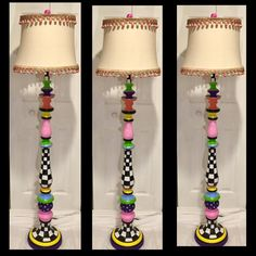 Whimsical Painted Floor Lamp, Painted Lamp, Floor Lamp, Custom Painted Lamp hand painted home decor Tall Lamps, Large Lamps, Funky Floor Lamps, Best Desk Lamp, Steampunk Furniture, Adjustable Floor Lamp, Painting Lamps, Funky Furniture, Painted Furniture