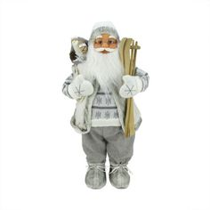 24 Classic Skiing Pure White and Gray Standing Santa Claus Christmas Figure