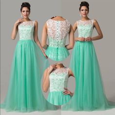 #Wishesbridal See Through Long Mint Scoop A Line Prom Dress Cwb0158