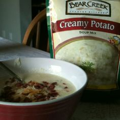 potato soup! added shredded cheese, bacon bits, chives and sour cream ...