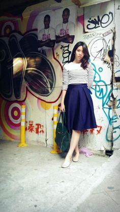 striped top + full skirt