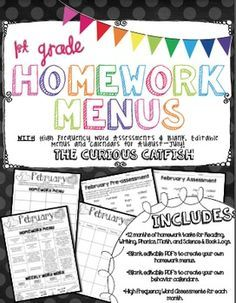 Monthly homework packets the way we roll with homework in first check out these first grade homework menus they provide reading phonics writing fandeluxe Gallery