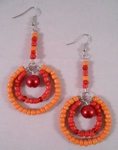 Orange and Red Double Hoops from Elohi Jewelry