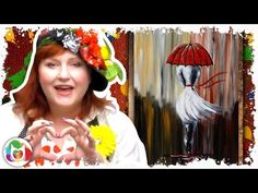 How to paint Girl Walking in the Rain Red Umbrella DIY art lesson tutorial painting party - YouTube