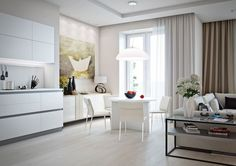 Roohome.com - Small apartment design with the simplicity and elegant white shades are perfect for a couple. The beautiful and soft white touch your heart and take you flying in the clouds and never want to land. Every line is clear and arranges perfectly, it is useful to makes any couple easier ...