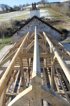Timber frame roof structure. #oakframe by Castle Ring Oak Frame. Welsh farm house extension #Powys #Wales