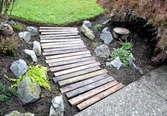 Love this!! Repurposed pallet walkway!!     Cute!  Maybe this could be used to cross the small garden area around the plum tree...