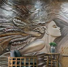 Custom Mural Wallpaper For Walls Stereoscopic Embossed Fashion Art Beauty Bedroom TV Background Home Wall Decoration Painting Photo Wallpaper, Custom Wallpaper, Wall Wallpaper, Bedroom Wallpaper, Wallpaper Roll, Wall Painting Living Room, 3d Foto, Peacock Wall Art, 3d Wall Murals