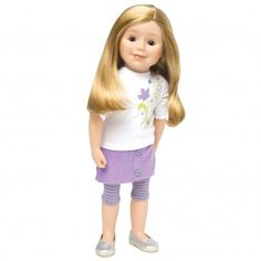 Maplelea Jenna 18 Inch Doll Long red Hair with Bangs, fair Skin with Freckles, Dark Eyes