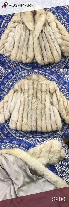 Vintage blue fox fur jacket Medium coat Excellent shape vintage blue Fox fur jacket one breast pocket Jacques Aran Saga Furs Jackets & Coats