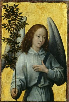 Hans Memling — Angel with an Olive Branch, Emblem of Divine Peace : The Louvre Museum, Paris. Photo Ange, Renaissance Kunst, Hans Memling, Angels Among Us, Papa Francisco, Guardian Angels, Wassily Kandinsky, Religious Art, Religious Paintings