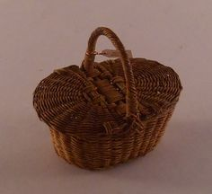 Basket #1 by Mikiyo Hosoe - $175.00 : Swan House Miniatures, Artisan Miniatures for Dollhouses and Roomboxes