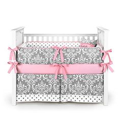 Sweet Jojo Designs Boutique Skylar Turquoise Blue Pink Polka Dot and Gray Damask Girls Baby Bedding 9 Piece Crib Set