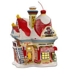 Disney Minnie Mouse ''Minnie's Bakery'' Building by Dept. Disney Christmas Village, Grinch Christmas Tree, Disney Christmas Decorations, Peanuts Christmas, Mickey Mouse Christmas, Merry Christmas Ya Filthy Animal, Whimsical Christmas, Christmas Villages, Christmas Traditions