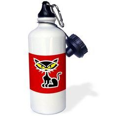3dRose Retro Style Black Kitty Cat Cartoon on Red Backgroud, Sports Water Bottle, 21oz