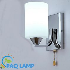 Simple wall lamp indoor lighting white glass lampshade chain switch sitting room bedroom LED light fixture