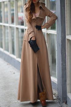 Pure Color Turn Down Collar Long Sleeve Maxi Coat