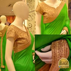http://www.kayfashions.in/#!/  Saree special: Chiffon grass green saree with readymade blouse for every occasion. Blouse is made of intricate gold coated designs, the same as the saree border.   Price: Rs.20,000. Available in Red colour also.
