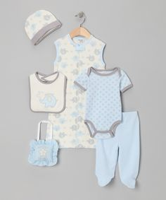 Blue Elephant 'Lil' Peanut' 7-Piece Layette Set from chick pea