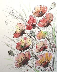 Elegant poppies Original floral painting Watercolor and ink flowers painting Original poppies art