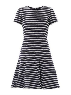 Theory Albita textured-stripe dress