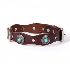 Type: Collars Collar Type: Basic Collars Pattern: Solid Feature: Jeweled Feature: Personalized Season: All Seasons Type: Dogs Material: Leather Style: Ethnic Style/Retro Usage: For Large Dog - Colour: Green - Pattern: null - Size: M Big Dog Beds, Big Dogs, Leather Dog Collars, Pet Collars, Dog Pee Pads, Dog Blanket, Sleeping Dogs, Turquoise, Dog Accessories