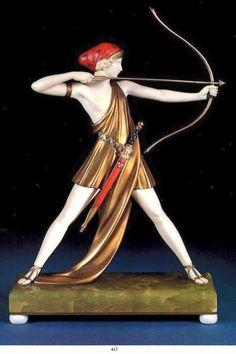 The Archer (Diana the Huntress) by Ferdinand Preiss, 1930 Goldscheider, Bronze Sculpture, Sculpture Art, Sculptures, Art Nouveau, Interiores Art Deco, Music Drawings, Art Deco Furniture, Metal Artwork