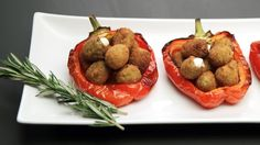 Recipe with video instructions: The Italians have a version of tapas called cicchetti, and these savory morsels are the perfect addition to any meal. Ingredients: 2 bell peppers, 12-15 green olives, pitted  , 1 tsp rosemary, minced, 1 tsp lemon zest, ¼ cup ricotta, 2 eggs, beaten, Breadcrumbs, 1 oz Parmigiano-Reggiano, shredded, Grapeseed oil