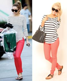 Pair striped shirt with a pop of color for a fun, casual look. Need a pair of jeans like this so I can pull off this look! Cute Fashion, Fashion Outfits, Womens Fashion, Fashion Pants, Salmon Pants, Spring Summer Fashion, Spring Outfits, Casual Outfits, Cute Outfits