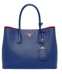 PRADA Saffiano Leather Tote Handbag Cornflower Blue.