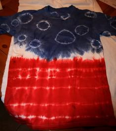 This t-shirt was done with Rit Dyes, scarlet and royal blue, entire bottles mixed with boiling water.   Materials:  100% cotton white t-s...