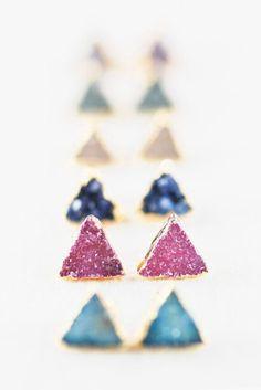 Hanaaloha earrings gold druzy stud earrings