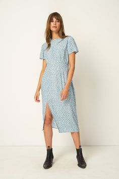 b87a3146cf60 Rue Stiic Colorado Daisy print Salt Lake Midi Dress powder blue, open back,  short. PIPE AND ROW